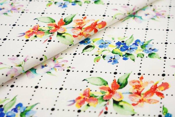 Baumwoll-Jersey Digitaldruck Blumen und Punkte im Rautenmuster auf off white