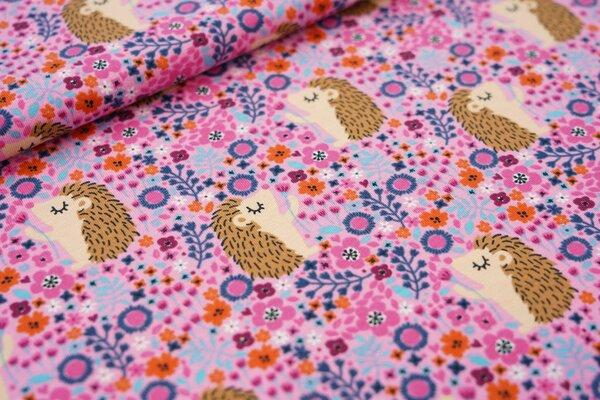 Baumwoll-Jersey Igel und Blumenwiese rosa / hell pink / blau / orange / hellblau