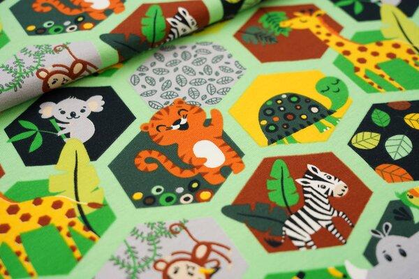 Baumwoll-Jersey Tiere und Blätter im Hexagon Tiger Koala Panda Affe hellgrün