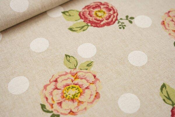 Canvas-Stoff Dekostoff in Leinenoptik Blumen und Punkte natur / weiß / rosa