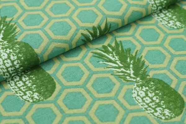 Dekostoff Canvas Ananas mit Hexagon Hintergrund grün / petrol