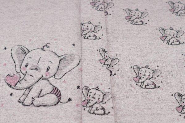 Panel Jacquard-Sweat Max Baby Elefant mit Herz altrosa / off white Rapport