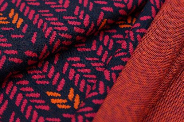 Jacquard-Sweat Ben mit Blätter Muster Ähren navy blau / amarant pink / orange