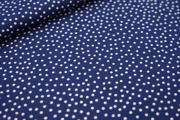Interlock Jersey unregelmäßige Punkte dunkel taupe blau / weiß