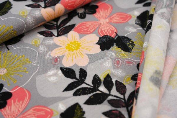 Kuscheliger Baumwoll-Sweat große Blüten und Blätter auf grau Blumen
