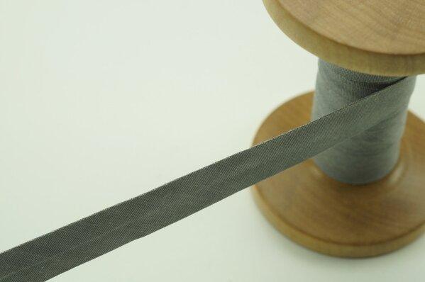 Schrägband Baumwolle 1,5 cm breit uni grau meliert 3 m