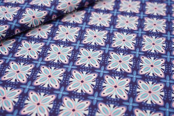 Baumwollstoff Retro Blumen-Muster Kacheln auf dunkelblau