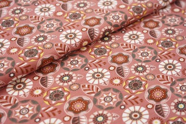 Baumwoll-Jersey Blumen-Kreis-Muster auf kastanienbraun