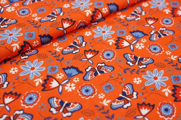 Interlock Jersey Schmetterlinge Blumen Zweige orange / taupe blau / weiß