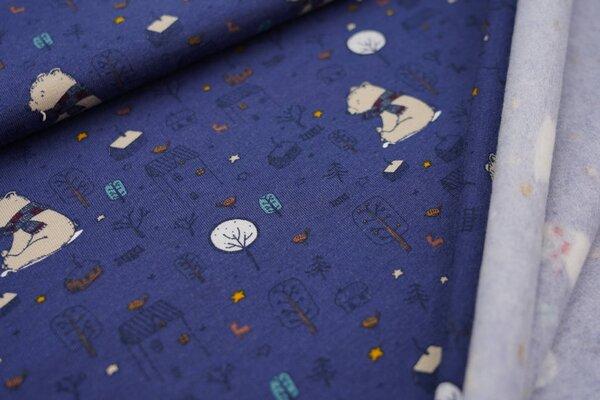 Kuscheliger Baumwoll-Sweat Bär Vogel Häuser Bäume Sterne auf dunkelblau