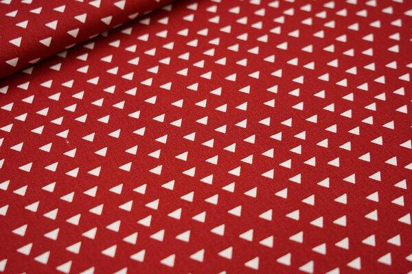 Baumwoll-Stoff weiße Dreiecke auf dunkelrot