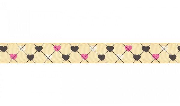 Webband Herzen auf Karo Muster gelb 25 mm Zierband Dekoband