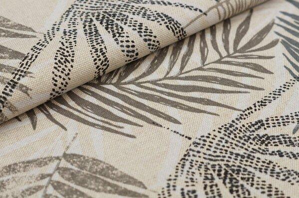 Canvas-Stoff Dekostoff in Leinenoptik Palmenblätter natur / beige / grau / weiß