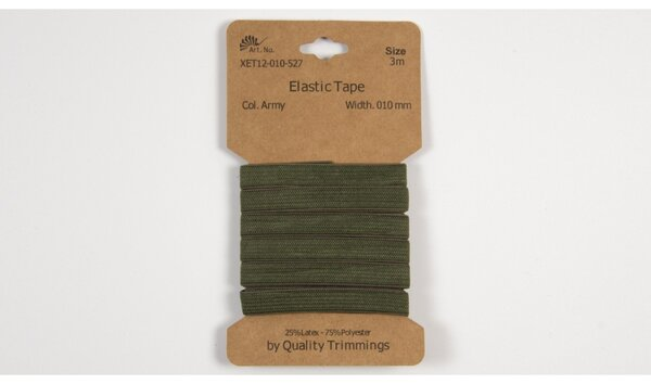 3 m elastisches Gummiband Flachgummi uni armeegrün khaki grün 10 mm breit