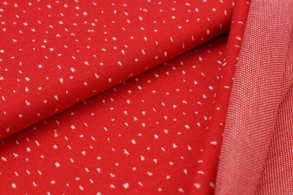 Jacquard-Sweat Ben off white Pünktchen auf rot