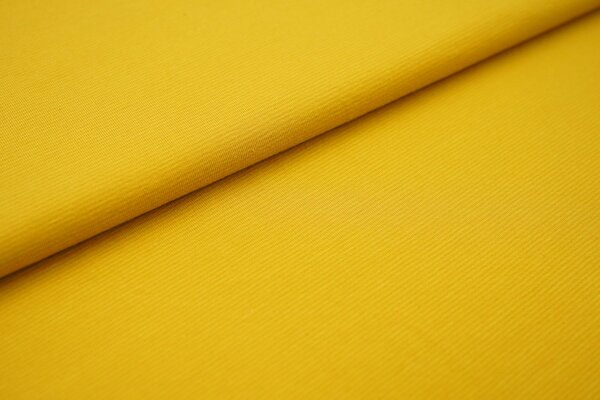 Baumwoll-Jersey Mini-Streifen Ringel senf / orange