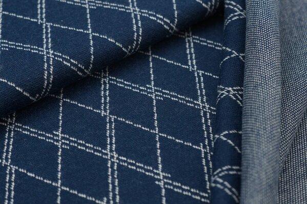 Jacquard-Sweat Ben off white Rauten Muster gestrichelt auf navy blau