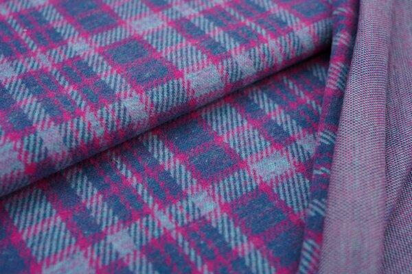 Kuschel Jacquard-Sweat Max Karo Muster petrol / amarant pink / eisblau