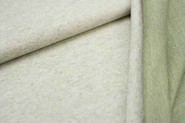 Jacquard-Jersey off white Uni mit dunkelgrauer und hellgrüner Rückseite