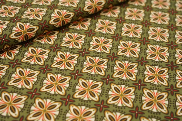Baumwollstoff Retro Blumen-Muster Kacheln auf khaki grün