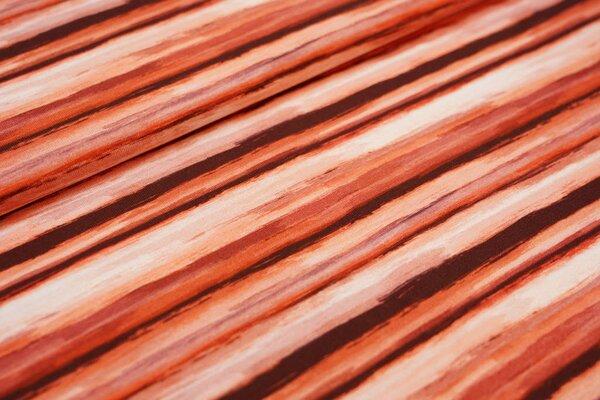 Baumwoll-Jersey mit Streifen Muster in Rottönen