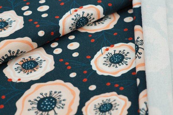 XXL Baumwoll-Sweat mit Digitaldruck abstrakete Blumen auf sehr dunkelblau