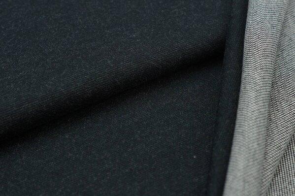 Jacquard-Sweat Ben schwarz Uni mit schwarz und hellgrauer Rückseite