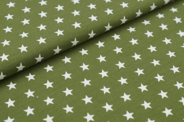 Baumwoll-Jersey kleine Sterne khaki / weiß