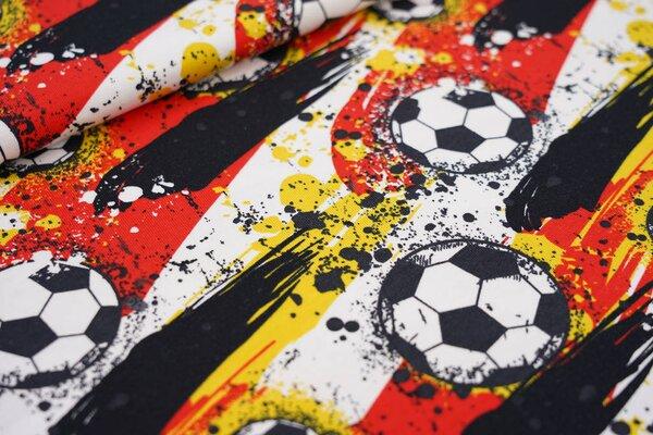 Baumwoll-Jersey Fußball Fußbälle und Farbkleckse weiß / schwarz / rot / gelb