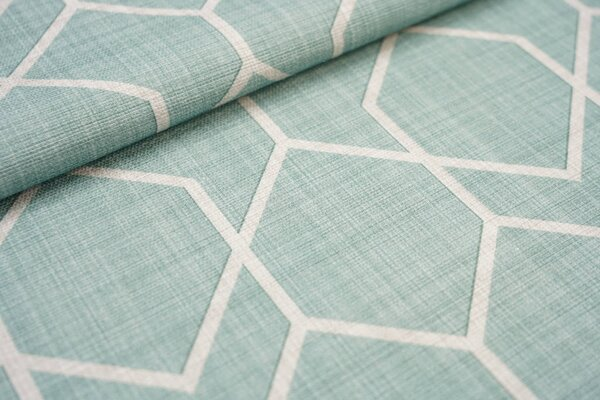 Canvas-Stoff Dekostoff eckiges geometrisches Muster altmint grün / hell beige