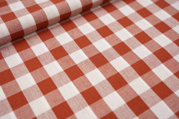 Baumwollstoff Baumwolle Karomuster sehr groß kariert rostorange / weiß