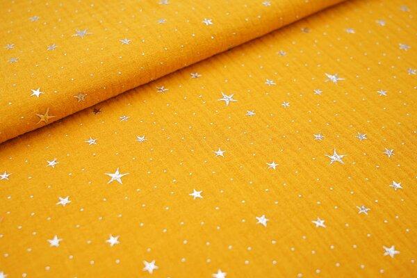 Musselin Stoff Double Gauze uni silberne Sterne auf senfgelb