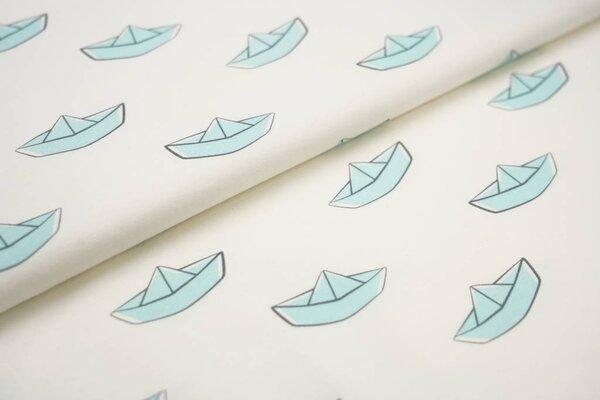 Baumwoll-Jersey Digitaldruck Papierschiffchen Boote off white / pastell eisblau