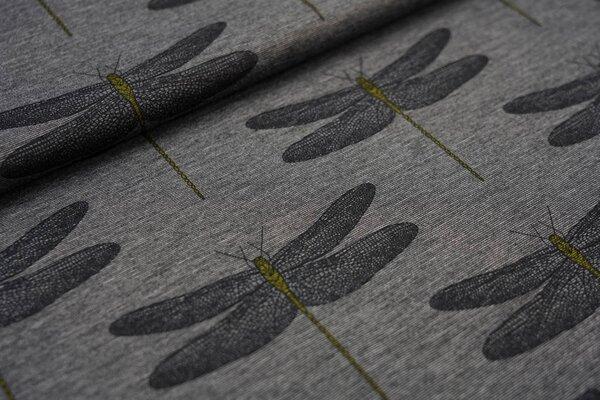 Fester Romanit Jersey mit großen Libellen auf grau