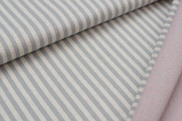 Jacquard-Sweat mit Streifen hellgrau / off white mit altrosa