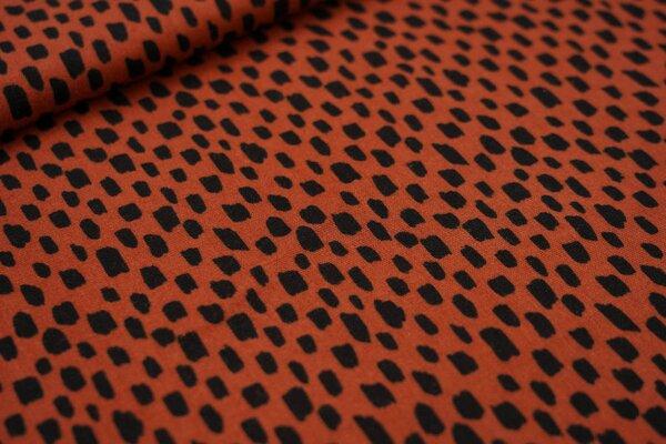 Musselin Stoff Double Gauze Kästchen-Muster Striche rostorange / schwarz