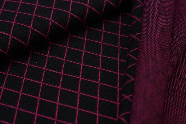 Jacquard-Sweat Ben Rauten schwarz / amarant pink