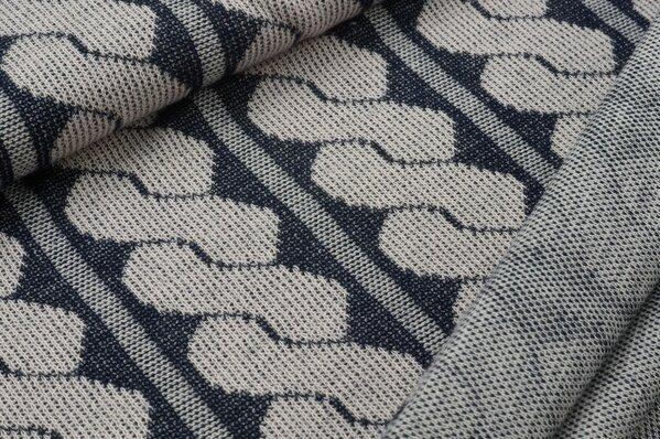 Jacquard-Jersey Strickstoff Retro Zopf-Muster hellrosa / navy blau / grau