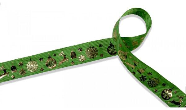 Webband Weihnachtsgeschenke Rentiere Eiskristalle grün gold 25 mm Zierband Dekoband Weihnachten