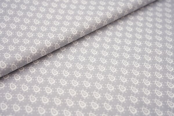 Baumwollstoff mit Retro Tropfen Muster silbergrau / weiß