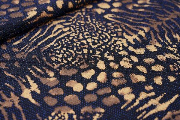 Elastischer Glitzer Jersey Modestoff Tigerfell schwarz / gold / blau