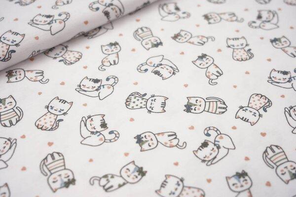 Baumwoll-Jersey Katzen und Herzen auf weiß