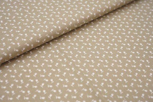 Baumwollstoff Baumwolle beige mit kleinen weißen Blumen