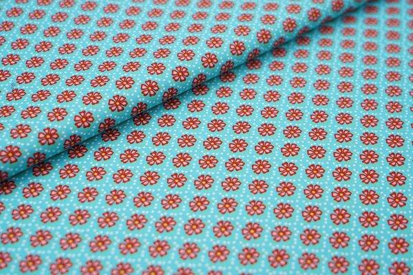 Baumwollstoff Blümchen-Muster türkis / weiß / rot Blumen
