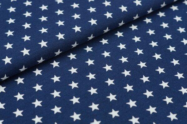 Baumwoll-Jersey kleine Sterne dunkelblau / weiß