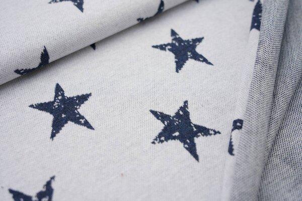Jacquard-Jersey große navy blau melierte Sterne auf off white maritim