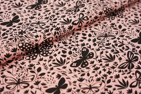 Baumwoll-Jersey schwarze Schmetterlinge und Blumen auf lachs hellrot meliert