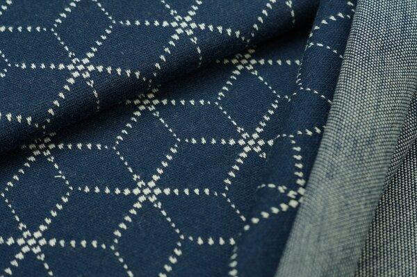 Jacquard-Sweat Ben off white Geometrie Muster Würfel Blöcke auf navy blau
