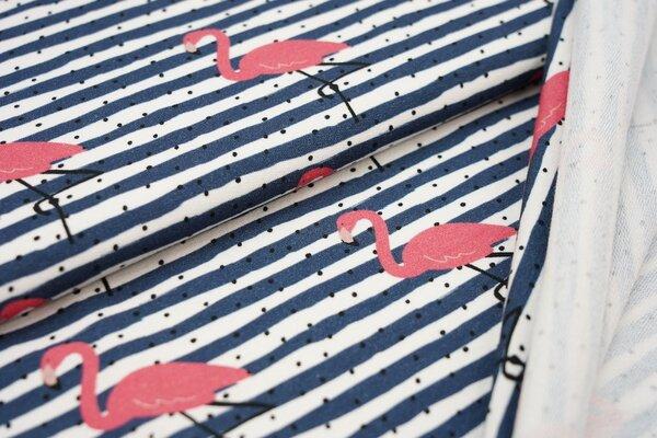 Baumwoll-Sweat Flamingos und Punkte auf Streifen blaugrau / weiß / schwarz