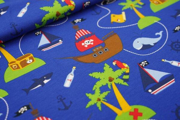 Baumwoll-Jersey Piratenschiffe Palmen Wal Hai Papagei Boote auf königsblau